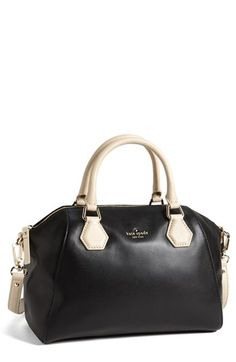 Gorgeous leather satchel from Kate Spade. The black with cream is so elegant.