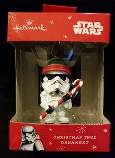 44ec292906262 Star Wars Stormtrooper Santa Hat Candy Cane Hallmark Disney Ornament NIB  2015