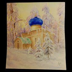 "A Russian church painted by Grand Duchess Olga Alexandrovna Romanova of Russia. ""AL"""