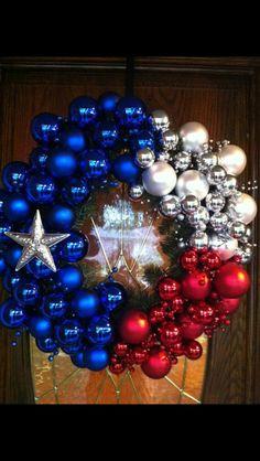 Texas wreath, but burlap instead of ornaments