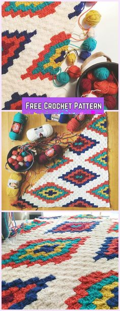 C2C Crochet Southwestern Style Graphghan Blanket Free Pattern