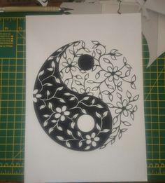 Personal PDF digital template of a floral Yin yang symbol