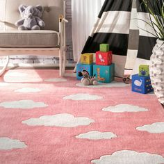 Viv + Rae Lily Cloudy Sachiko Hand-Tufted Pink Area Rug & Reviews | Wayfair Kids Area Rugs, Area Rugs For Sale, Beach Chic Decor, Homer Decor, Clouds Pattern, Nursery Rugs, Orange Rugs, Pink Clouds, Traditional Area Rugs