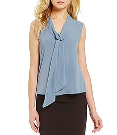 4b701725a45 Calvin Klein Tie-Neck Sleeveless Crepe Shell