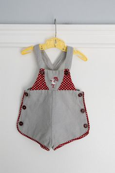 6-12 months: Baby Sunsuit, Vintage Grey Baby Romper with Duck Embroidery, Side Buttons, Polka Dot Trim