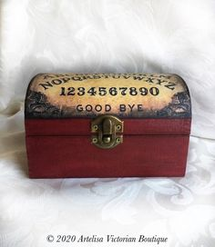 Halloween Ouija Board Tarot Cards Chest Kitchen Witch   Etsy Watch Storage Box, Card Storage, Luxury Chocolate, Chocolate Gifts, Recipe Card Holders, Recipe Cards, Shades Of Burgundy, Cigarette Box, Ouija