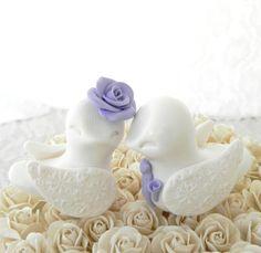 Love Birds Wedding Cake Topper, Purple and White, Bride and Groom Keepsake, Fully Custom