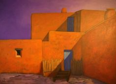 Pueblo Courtyard, an original contemporary Southwest landscape painting by Robert Burt