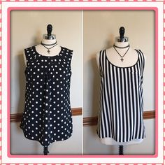 Pre-Made Bundle>>2 black white polkadot stripe top Two for the price of one! Stand out with these printed spring tops. Merona polkadot sleeveless blouse with pleated neckline. Forever 21 striped blouse with front pocket. Size large. EUC Forever 21 Tops Blouses
