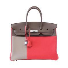 HERMES BIRKIN 35 Bag Casaque Rose Jaipur Etoupe Argile Brushed p   From a collection of rare vintage handbags and purses at http://www.1stdibs.com/fashion/accessories/handbags-purses/