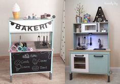 nr. 1: Gevonden op mommodesign | nr. 2: Gevonden op divinelydiy.blogspot Ikea Kids Kitchen, Ikea Kitchen Remodel, Diy Play Kitchen, Lidl, Ikea Duktig, Ikea Toys, Ikea Makeover, Kids Play Spaces, Toddler Playroom