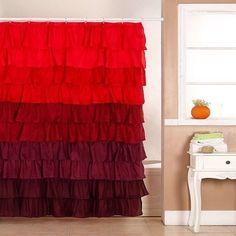 New Red Ruffle Shower Curtain Fabric Fall Autumn Colors Bathroom Decor Ruffled…