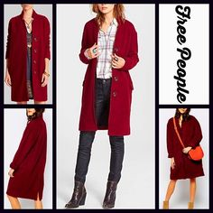 """FREE PEOPLE COAT Red Long Overcoat RETAIL PRICE: $248  NEW WITH TAGS   FREE PEOPLE COAT Red Long Overcoat Jacket  * Long & Tailored Silhouette * Long sleeves, snap front closure, & stand up collar * 2 Front functional flap pockets,    * Measures about 41"""" long long; Lined  Fabric: 49% Polyester & 51% wool (lined in a cotton-nylon-spandex blend, so it is not scratchy at all) Color: Deep Red Velvet Item: 12990  No Trades ✅Offers Considered*/Bundle Discounts✅ *Please use the 'offer' button to…"""