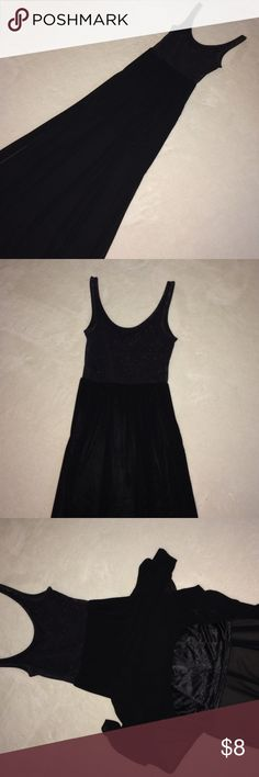 Fun Flowing Black Maxi Excellent condition. The top has a worn black denim look. The bottom is long side slit sheer with a short silky skirt underneath. H&M Dresses Maxi