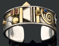 Cuff bracelet   Linda Ladurner. Silver, gold, and various stones