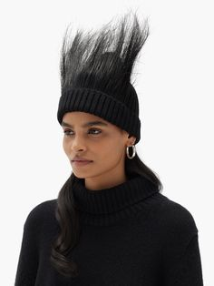 Feather-trimmed wool beanie hat | Marc Jacobs | MATCHESFASHION Black Feathers, Peacock Feathers, Black Beanie, Friends In Love, Beanie Hats, Rib Knit, Fashion Forward, Knitted Hats, Marc Jacobs
