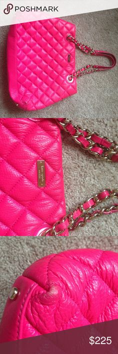 Kate spade Gold Coast quilted tote bag This bag is in excellent condition except for the little minor flaws u see in the pictures. The corners have a minor scuff and the mark on the back which very unnoticeable . This is a gorgeous hot pink color . The flaws don't affect the beauty of the bag. Inside lining has very minor stains . Bag is in great condition overall. Originally 450$+ no low balls please kate spade Bags Shoulder Bags
