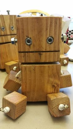 Block dude - wood toy, natural wood, wood robot, DIY toy #woodtoy