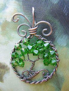 Green Swarovski Crystal Tree of Life Wire by RachaelsWireGarden