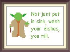Star Wars Yoda Kitchen Advice Cross Stitch Pattern: Buy 2 Patterns Get 1 FREE