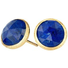 Marco Bicego 18K Yellow Gold Lapis Stud Earrings ($525) ❤ liked on Polyvore featuring jewelry, earrings, gold jewellery, gold jewelry, gold stud earrings, earring jewelry and 18 karat gold jewelry