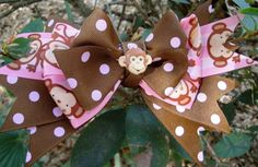 Monkey boutique bow by Hollywoodtutu on Etsy