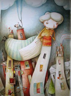 Grandma Is Knitting Houses- Original Watercolor Painting-nursery Wall Decor