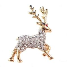 Reindeer Pin Brooch Clear Crystal Goldtone Metal Christmas Holiday  #nobrand