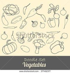 Hand-drawn set vegetables. Vector illustration. - stock vector