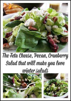 Feta Cheese, Pecan, Cranberry Salad that will make you love winter salads served with a vinaigrette dressing. #EasterSalad #FancySalad #UniqueSalad #MyTurnforUs #HomemadeVinaigrette