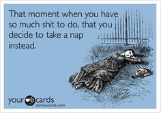 Funny Confession Ecard: That moment when you have so much shit to do, that you decide to take a nap instead. I've done this a few times. Lol!!!