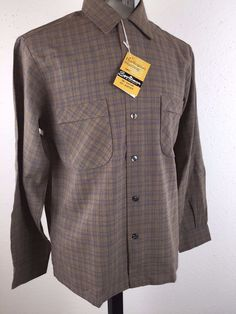 "VINTAGE 1950'S ROCKABILLY SHADOW PLAID TOP LOOP ""SPORTSMAN"" SHIRT MEDIUM-NOS"