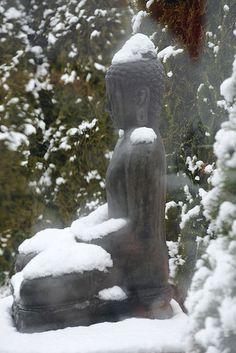 Man of stone, the superman, statue of Amitabha Buddha, meditating in the snow, A Garden for the Buddha, Seattle, Washington, USA