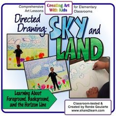 Art Lesson - Landscape Directed Drawing - Learn about the horizon line, foreground, and background. Fun for Kindergartners and more!