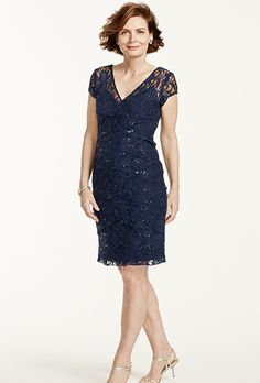 David's Bridal. Cap sleeve lace dress with all over sequin.��See More David's Bridal Mothers Dresses