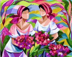 'Dos Marias' - Two Ladies- a Filipino Art in Cross Stitch; Pattern in PDF by Cross Stitch Designs Rinna Arte Filipino, Filipino Culture, Cross Stitch Designs, Cross Stitch Patterns, Blue Design, Flower Shape, Geisha, Colorful Flowers, Pop Art