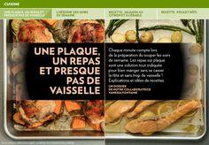Une plaque, un repas et presque pas de vaisselle - La Presse+ Biscuits Au Four, One Pot, Food To Make, Casserole, Dinners, Food And Drink, Beef, Chicken, Recipes