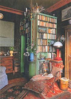 Oh...  I love books, and that particular shade of green.  Especially when it's contrasted with that yellow-red.  Wow!  So soothing.