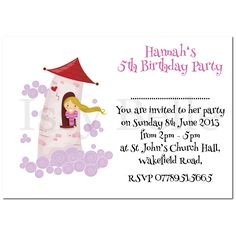 Personalised Invite. Childrens Birthday Party Invitations Rapunzel x 10 Girl