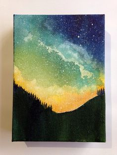 Galaxy Painting, Night Sky Watercolor, Starry Night Artwork, Northern Lights Art