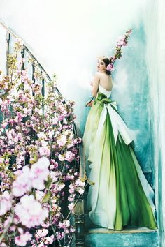 EPNV14(Emerald) #NOVARESE #ノバレーゼ #colordress #organdie #green #gradation