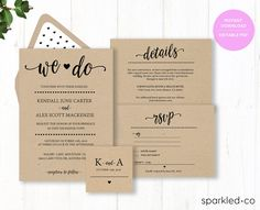 ♥ This We do Wedding invitation Template set includes four high resolution templates. These printable wedding invitations are a great DIY solution for cheap Wedding invitations on a budget that are high quality, and stylish. You can edit and print as many as you need. Print on kraft paper for rustic style or white/cream paper for an elegant classic look.   * PLEASE NOTE: THIS TEMPLATE IS NOT ON A KRAFT PAPER BACKGROUND. It is meant to be printed on kraft paper. Adding a kraft texture to the…