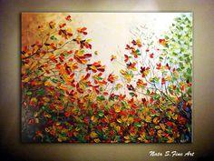 """Ursprüngliche Landschaft Painting.Abstract Schwer Strukturierte Wald Painting.Autumn.Palette Messer, Impasto.Large Kunstwerk 48 """"x 36"""" - nach Nata S."""