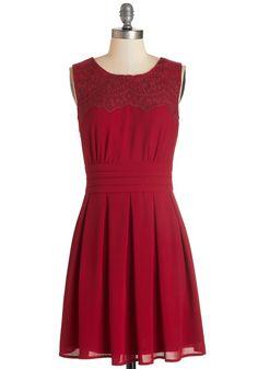 V.I.Pleased Dress in Wine - Red, Solid, Pleats, Party, Cocktail, A-line, Sleeveless, Mid-length, Lace, Wedding, Bridesmaid, Valentine's, Variation