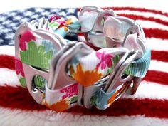100% spcaLA Donation Item ~ Splashy Upcycled PopTop & Ribbon Bracelet by SoBayBaubles, $4.00