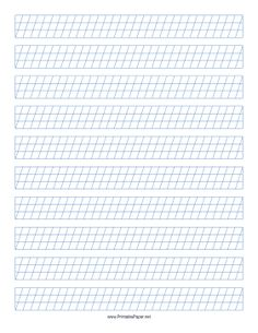 This Calligraphy Guide Paper features sets of blue guidelines 1/4-inch apart with low angle vertical guidelines on letter-sized paper in portrait orientation. Free to download and print