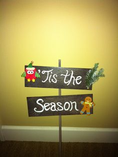 Crackle paint Christmas sign