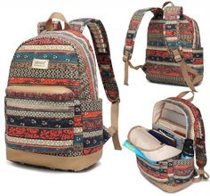 Kinmac New Bohemian Laptop Backpack with Massage Cushion Straps for 11 Inch 12 Inch 13 Inch Laptop Macbook Travel Backpack Backpack Outdoor Backpack for student girl women