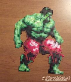 Hulk perler beads from the SNES game The by Hirosspriteshop, $15.00
