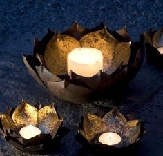 Gold Leafed Metal Lotus Flower Candle Bowls eclectic candles and candle holders